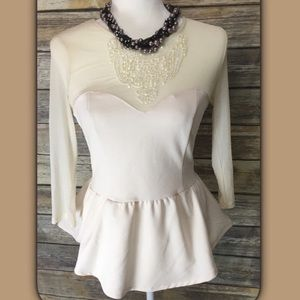 Forever 21 Lace Embellished Off White Top EUC